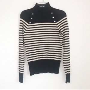 Black and Gold Striped Turtleneck Sweater